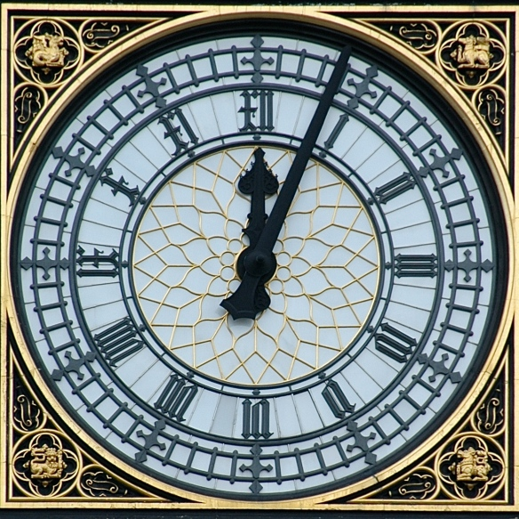 The Clock face on the Tower at the Palace of Westminster.